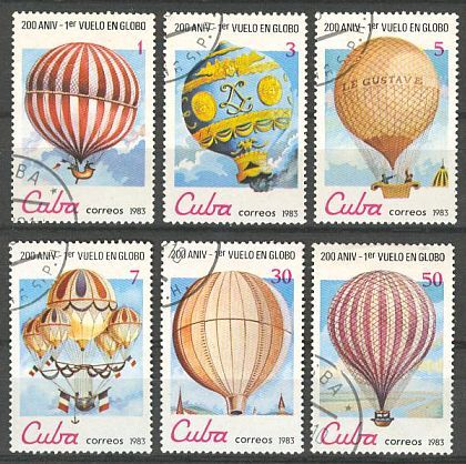 A set of 6 postage stamps from Cuba featuring Hot Air Balloons
