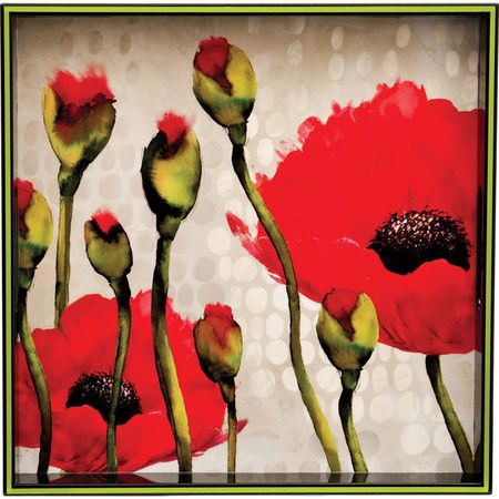 Eco-friendly square tray with a poppy-themed top and lacquer finish. Product: TrayConstruction Material: Eco-friendly...