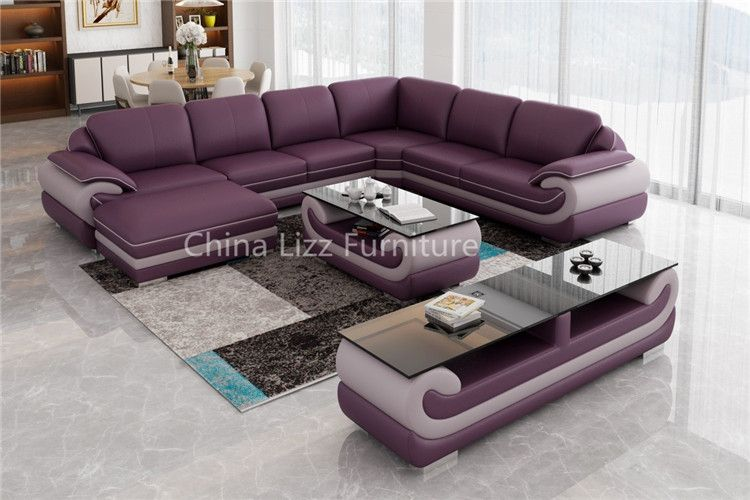 Modern Elegant Violet L Shape Genuine Sectional Sofa Linkedin