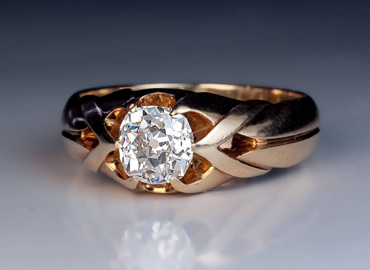 Antique 1 Carat Diamond Gold Men S Ring Antique Mens Rings Vintage Gold Rings Rings For Men