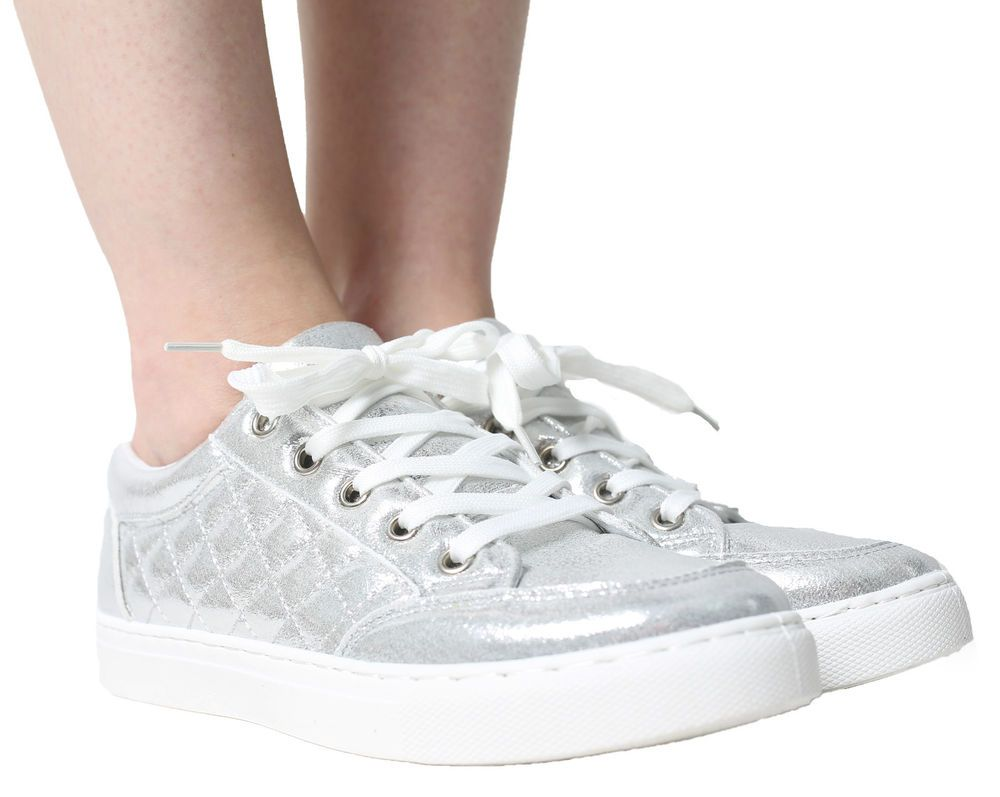 1254d3741dc WOMENS TRAINERS LADIES PUMPS FLATS LACE UP GLITTER SKATER SHOES CASUAL SIZE  NEW
