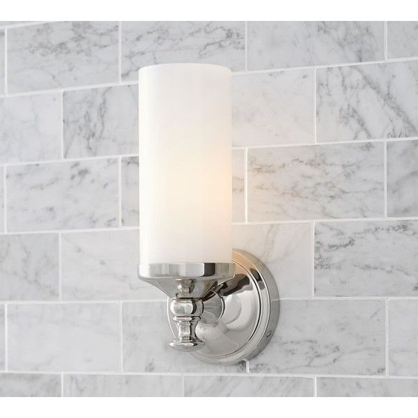Pottery barn mercer single tube sconce 129 via polyvore featuring home lighting
