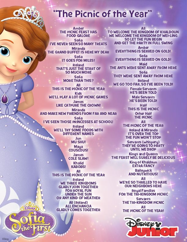 """Lyrics for """"The Picnic of the Year""""! #princess #songs # ..."""