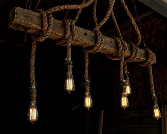 The Ahab 6 Industrial Rope Light Barn Beam Pendant