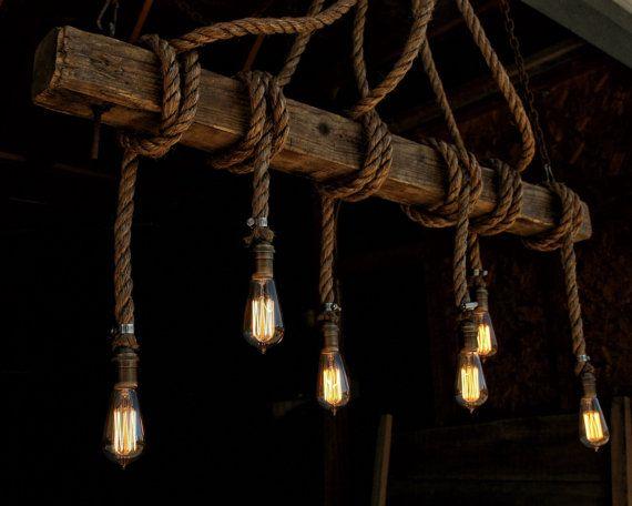 The Ahab 6 Industrial Rope Light Barn Beam Pendant Wood