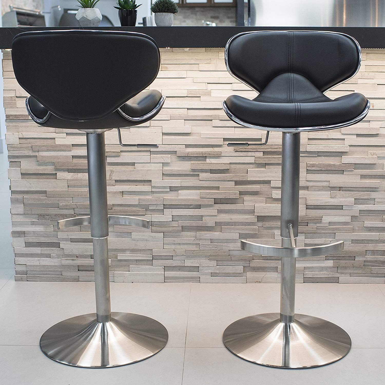 Sensational Mix Brushed Stainless Steel Faux Leather Black Adjustable Lamtechconsult Wood Chair Design Ideas Lamtechconsultcom