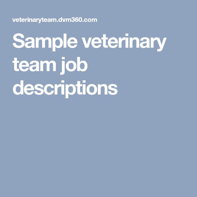 Sample Veterinary Team Job Descriptions  Veterinary Management