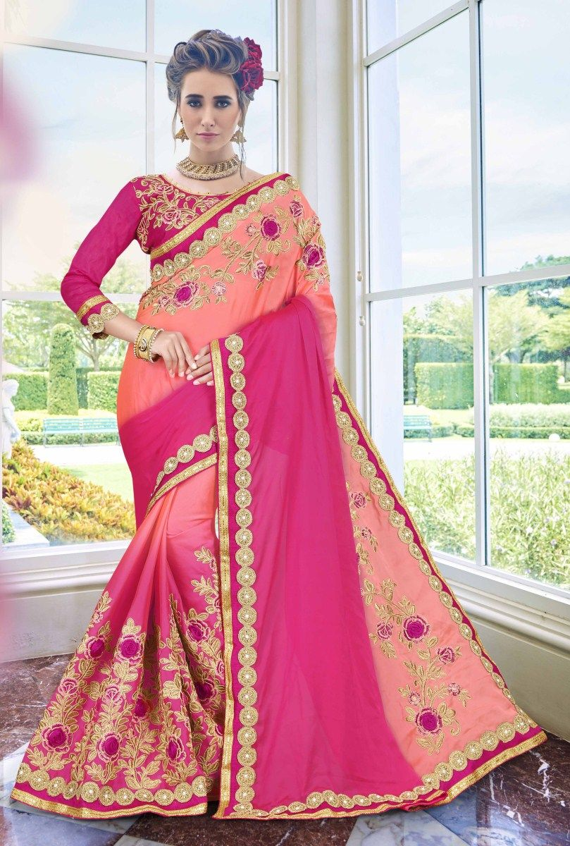Designer Fuchsia Pink Thread Embroidery Bollywood Sari Art Silk Party Wear Saree