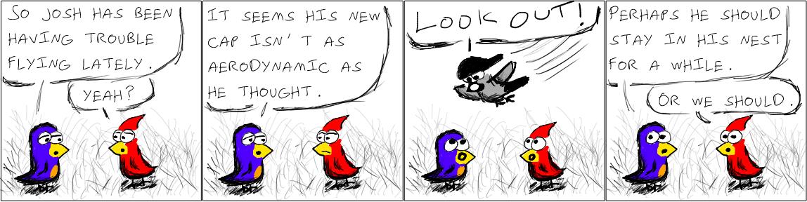 Bird comic strip character, sex heels skirt black