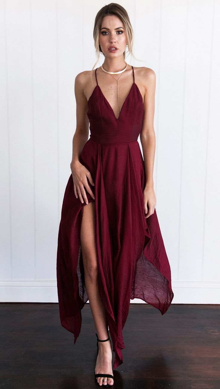 Cross Back Wine Red Ymetrical Hem Long Dress