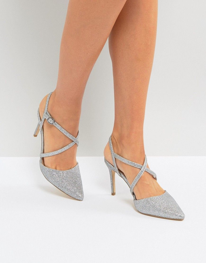 46da70fbca21 New Look Cross Front Pointed Heeled Shoes - Silver