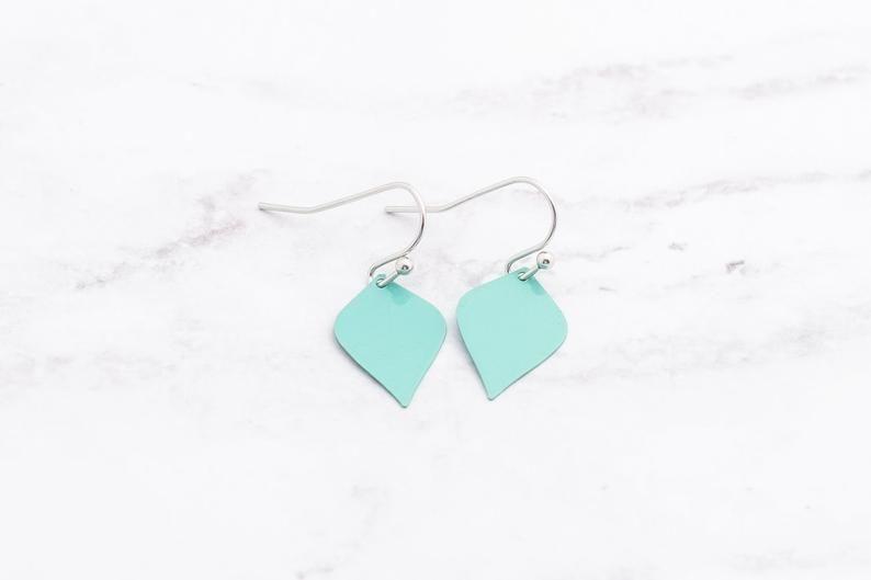 Teardrop Earrings ~ Pink Enamel Minimalist Teardrop Drop Earrings ~Mothers Day Gift