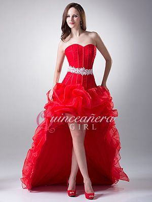 red puffy beaded sweetheart corset organza high low