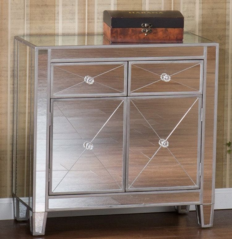 Mirrored Nightstands With Glass Doors Bedroom Curio Cabinets Wall
