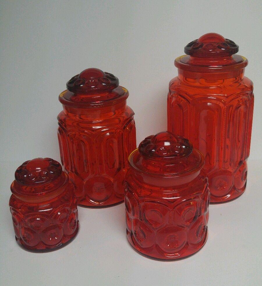 Mid Century Vintage L E Smith Moon & Stars Glass Dark Red Amberina Canister  Set 4 Pc Mcm By Bundlejoyshop On Etsy  Trendy Treasures Daily  Pinterest