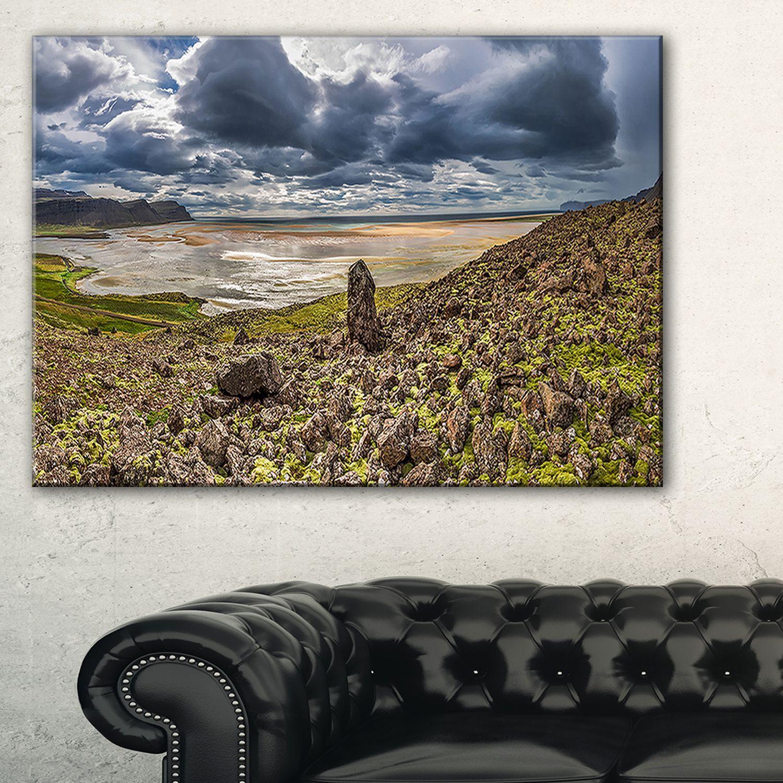 DESIGN ART Rocky Coastline Iceland Panorama - Landscape Print Wall Artwork