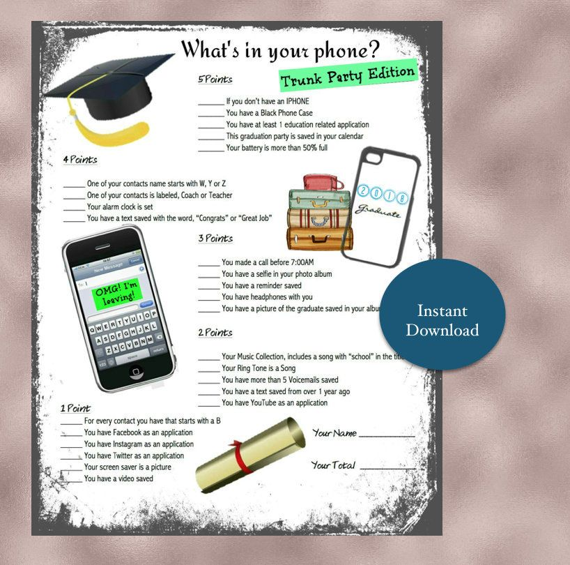 It is a graphic of Printable Trunk Party Games within last day school