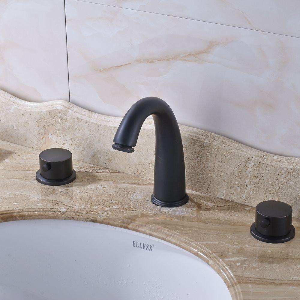 Deck Mounted Widespread Dual Handles Bathroom Sink Faucet Mixer Tap ...