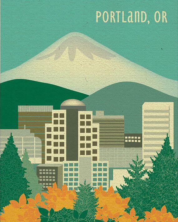 Portland Or Skyline Print Portland Map Portland Or Gift Mt Etsy Destination Wall Art Portland Map Oregon Travel