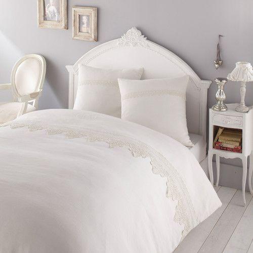 Juego de cama funda nórdica de lino blanco 240 × 220 cm ALBERTINE ...
