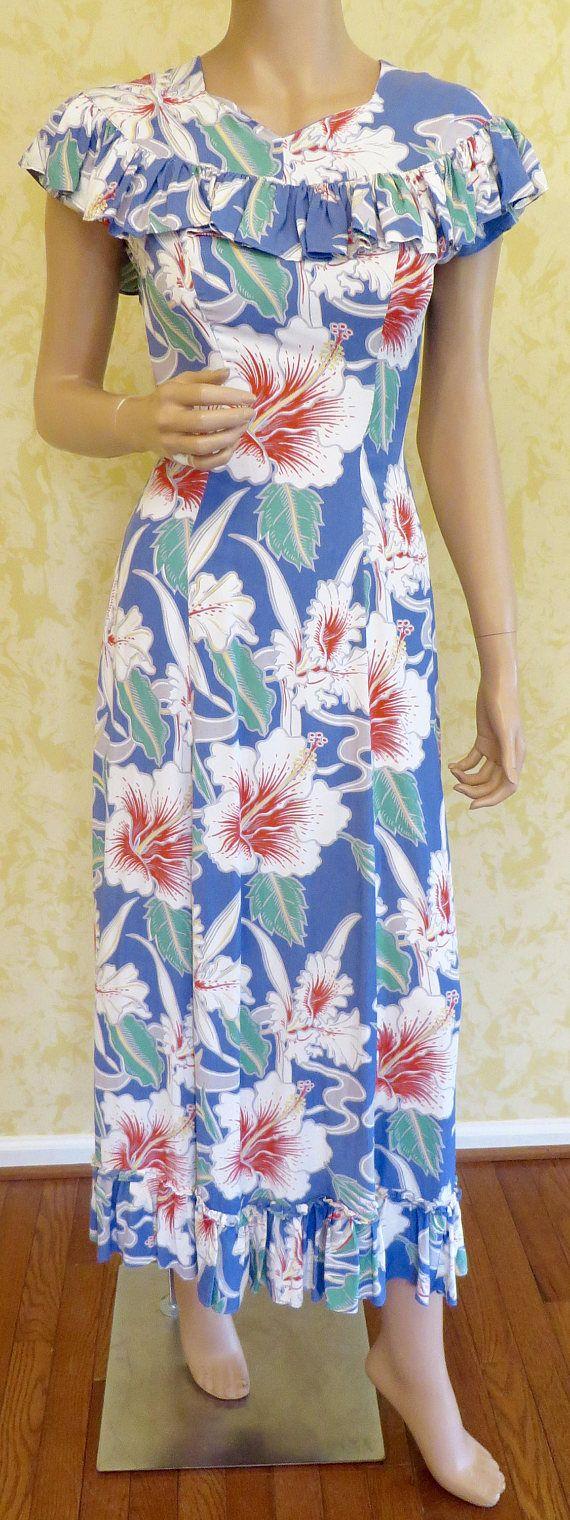 Fabulous 40\'s Hawaiian Print Rayon Long Dress w/ Ruffles   Vintage ...