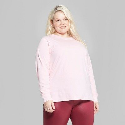 "c8f958f7c0d Women s Plus Size Long Sleeve Oversized Crew Neck T-Shirt - Wild  Fableâ"" 20Pink 4X  Sleeve"