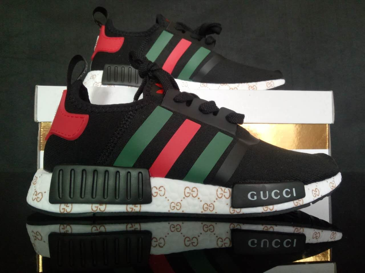 free shipping custom paint womens adidas nmd casual shoes gucci style black color athletic run sneakers with custom laces