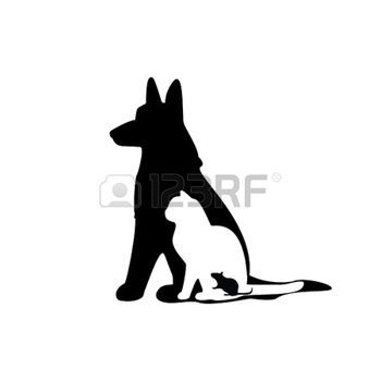 Illustration of mouse, cat, dog, mouse silhouette, cat silhoutte, dog silhouette photo