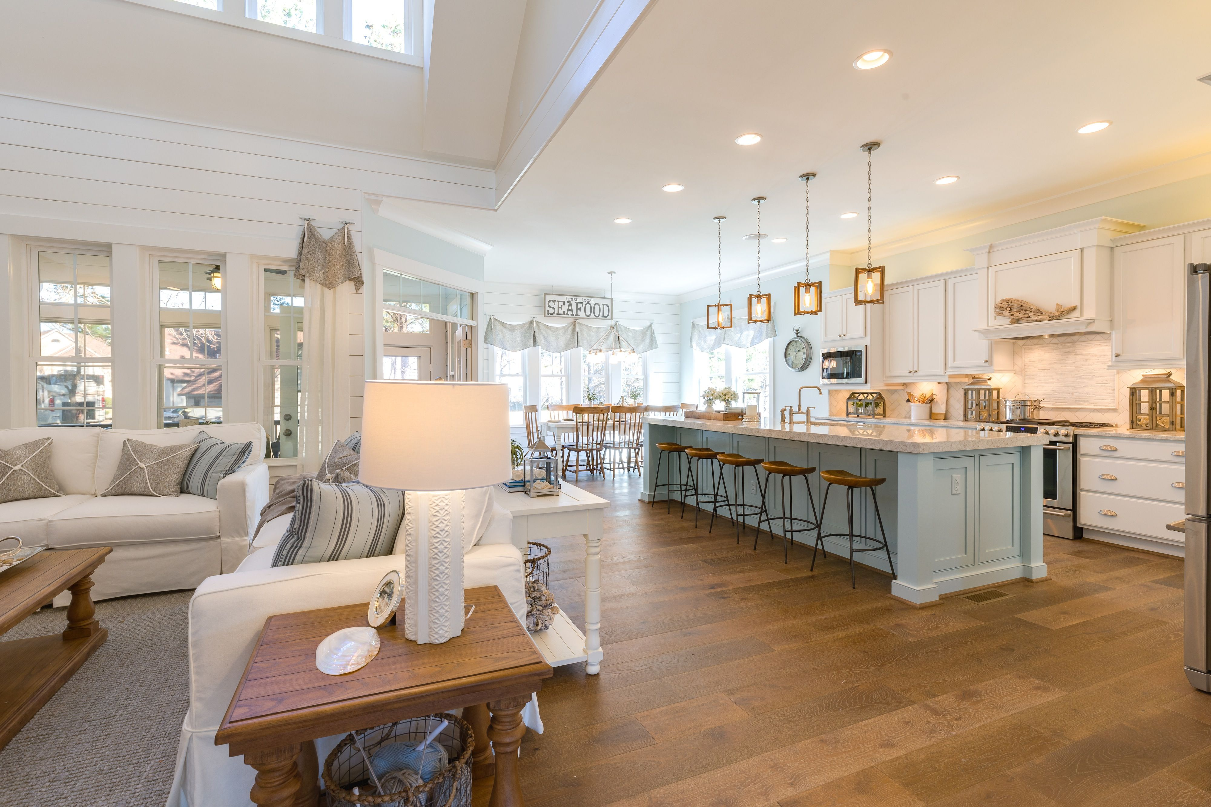 Turnbury Pendants Shown Stephen Alexander Homes Susan Wilson Interiors Coastal Living Rooms House Interior Home
