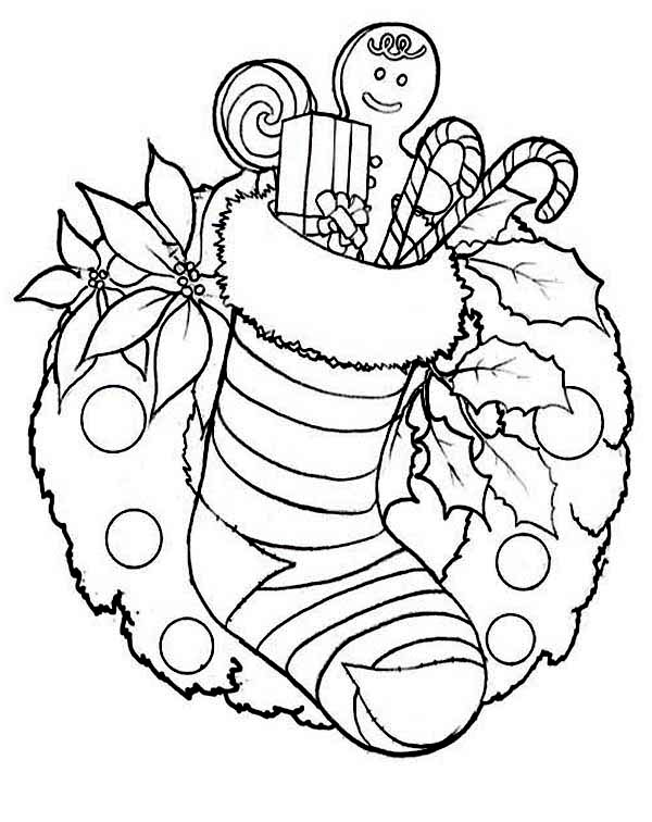 Christmas Stocking And Christmas Wreath For Decoration Coloring Page Download Print Online Colori Coloring Pages Christmas Colors Christmas Coloring Sheets