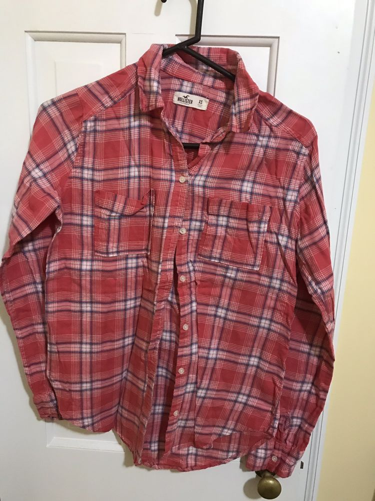 6b269e53bf0074 HOLLISTER Women's Coral pink/grey/white Plaid flannel Shirt XS long sleeve  #fashion #clothing #shoes #accessories #womensclothing #tops (ebay link)