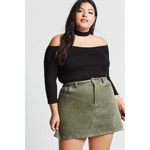 7bdb6f685414c Forever21 Plus Size Corduroy Mini Skirt ( 18) ❤ liked on Polyvore featuring  skirts