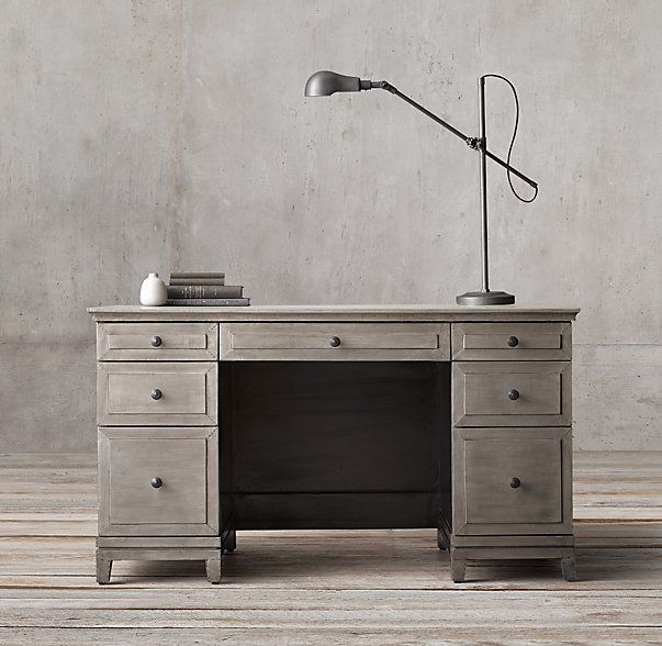 Annecy Metal Wrapped 54 Desk Desk Guest Room Office Grey Desk