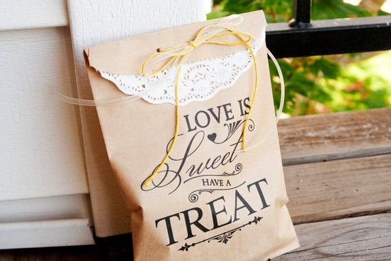 Items Similar To Brown Paper Favor Bags Candy Buffet Table Wedding Cookie Or Bag Love Is Sweet Style 25 On Etsy