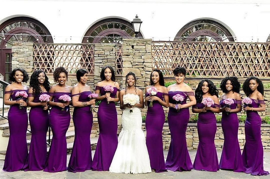 This Deep Eggplant Color Looks Good On All Of These Bridesmaids Munabridesmaids Via Perido Purple Wedding Theme Wedding Bridesmaid Dresses Munaluchi Bride