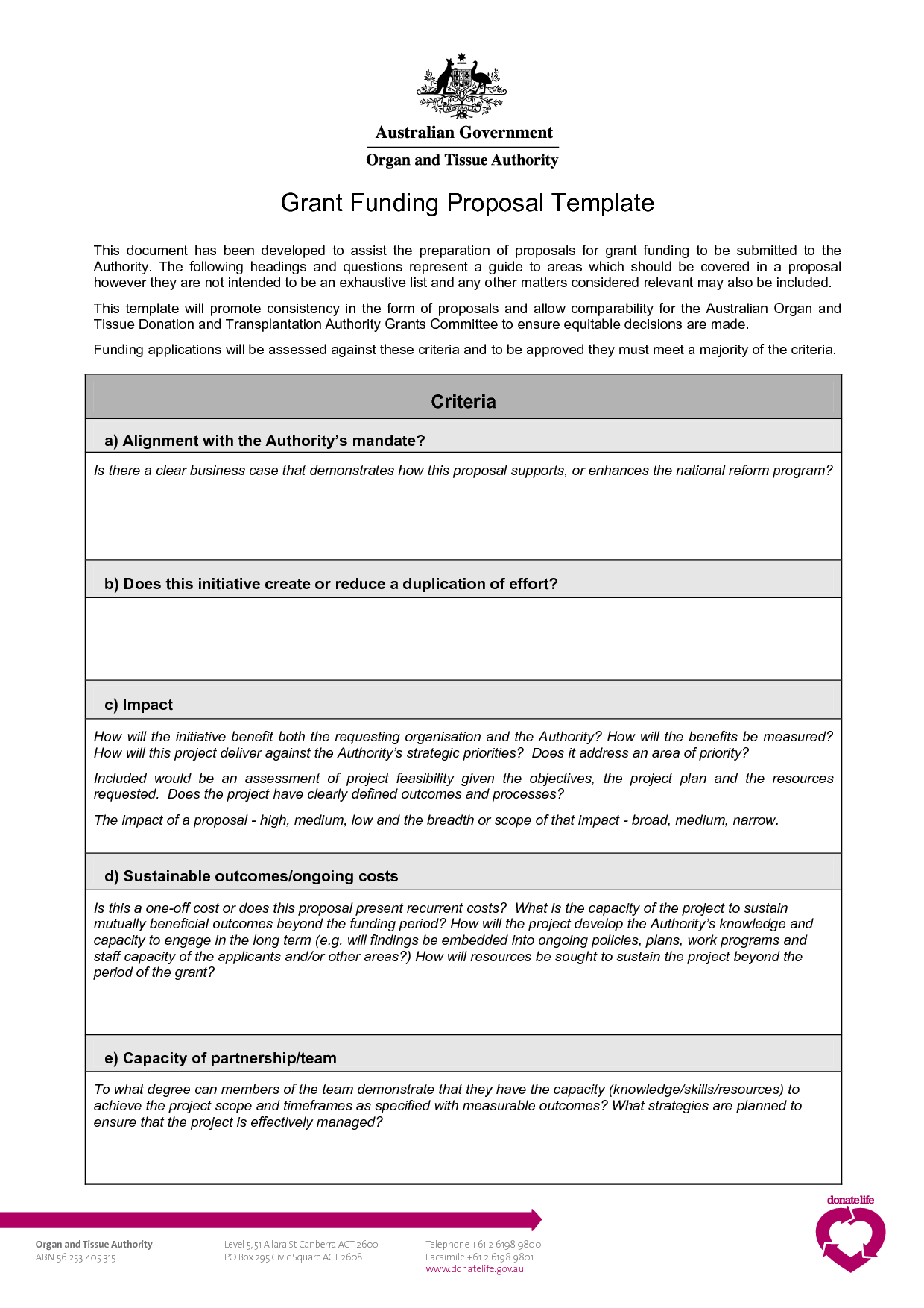Grant Proposal Template Template For Proposal For Funding Pccc