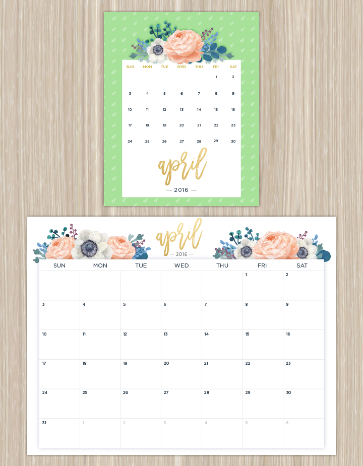 Printable Calendars for a More Floral 2017 | Printable calendars ...