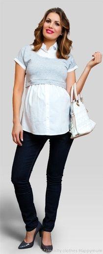 White Maternity Shirts