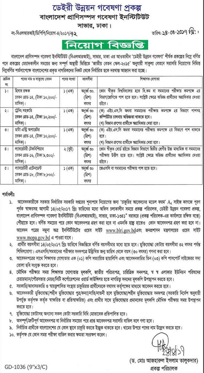 Bangladesh Livestock Research Institute Job Circular (With