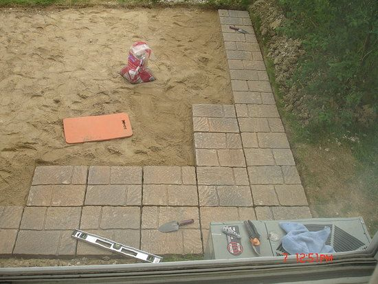 Our DIY Patio: layer of sand
