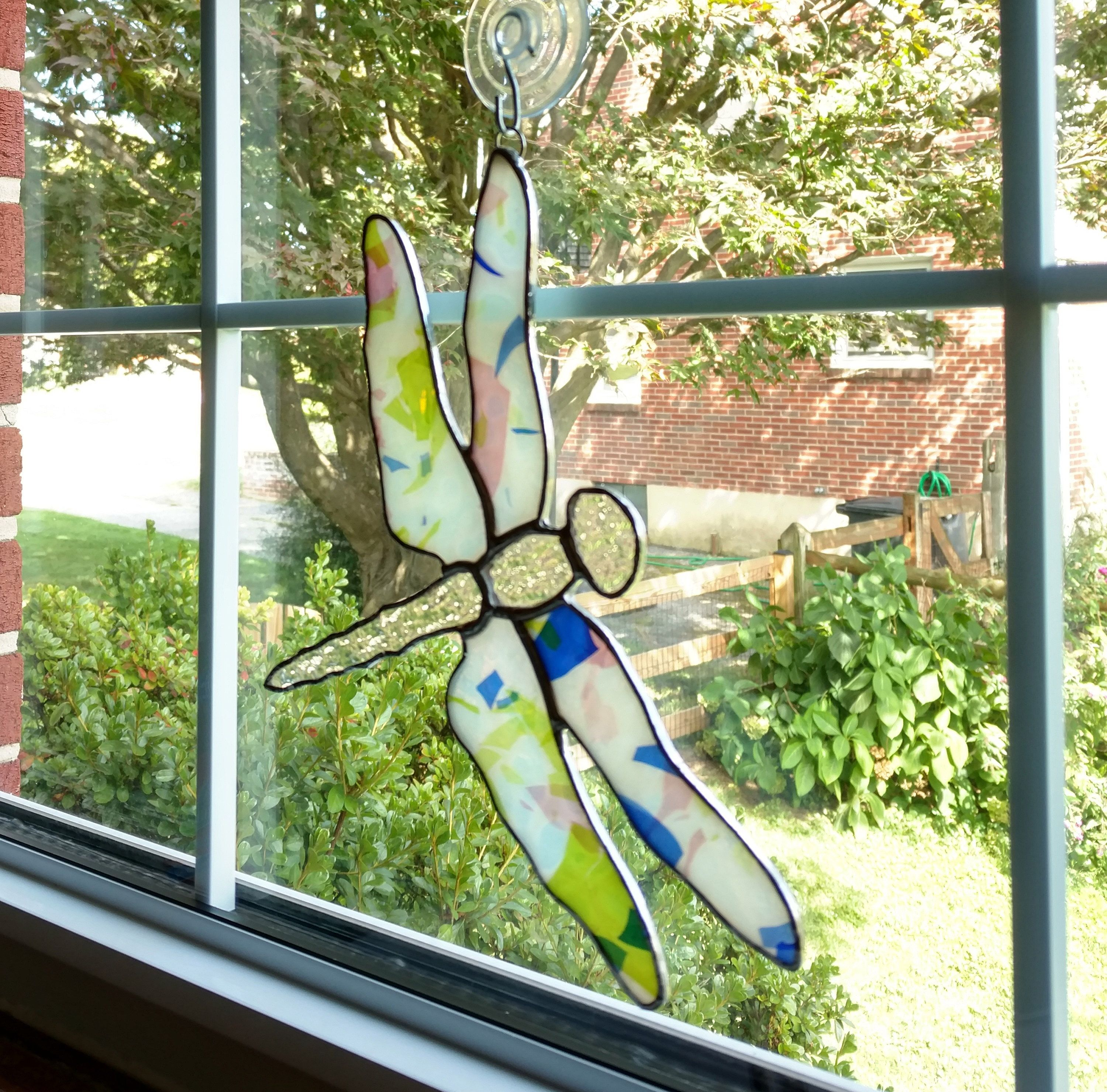 Stained Glass Dragonfly Suncatcher, Confetti Glass, Dragonfly ...