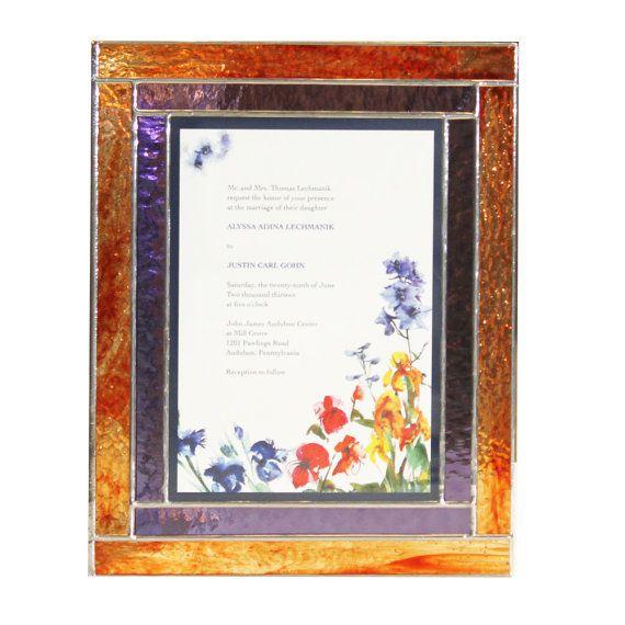 Stained Glass Keepsake Wedding Invitation Box In Fire Reds Purple