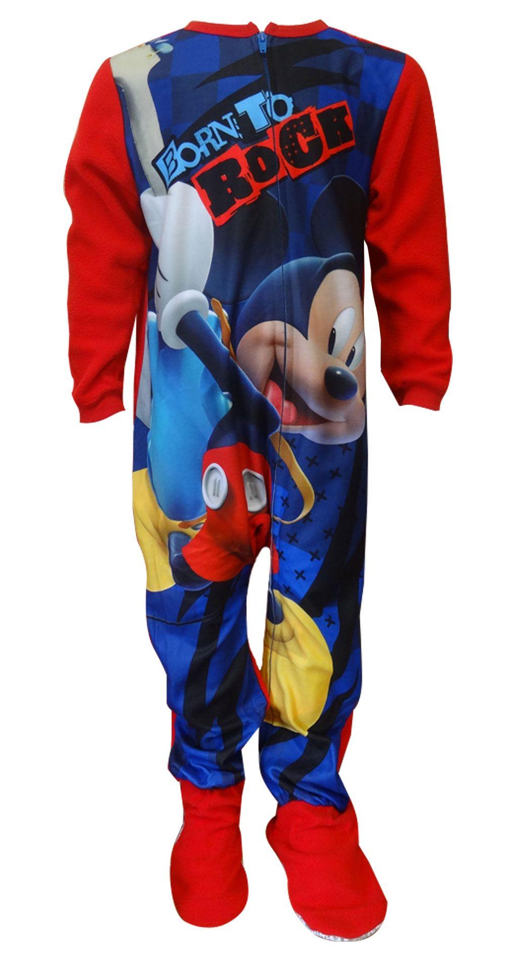 Size 5T Disney Mickey Mouse Boy/'s Fleece Footed Blanket Pajama Sleeper