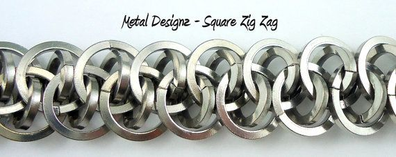 Square Zig Zag Chainmail Bracelet Kit - Easier to bend Stainless Steel - Shiny and Beautiful!  Makes 8 inches of chain.