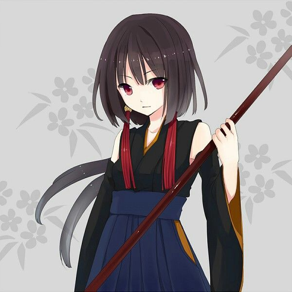 anime girl #ninja #redeyes #brown