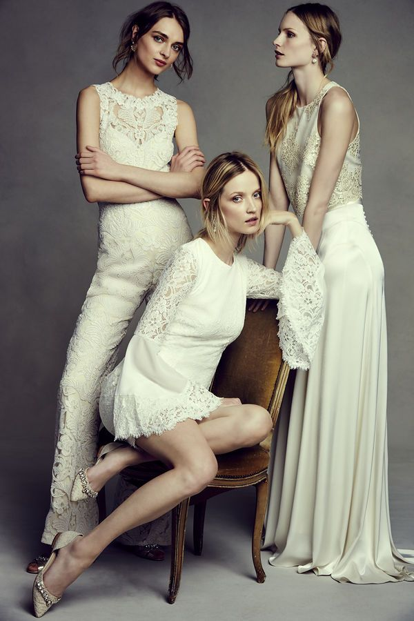 BHLDN lace wedding jumpsuit and short wedding dress with bell sleeves from boho beauty collection.