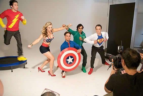 comic book heroes/big bang theory cast