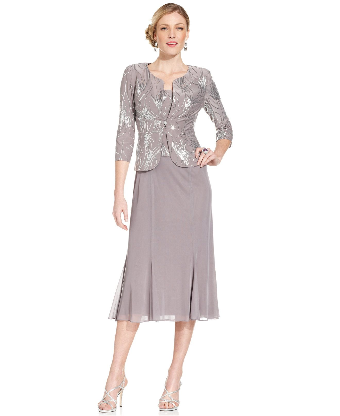 f1a7d2531274c Alex Evenings Petite Sleeveless Sequin Midi Dress and Jacket - Mother of  the Bride - Women - Macy's