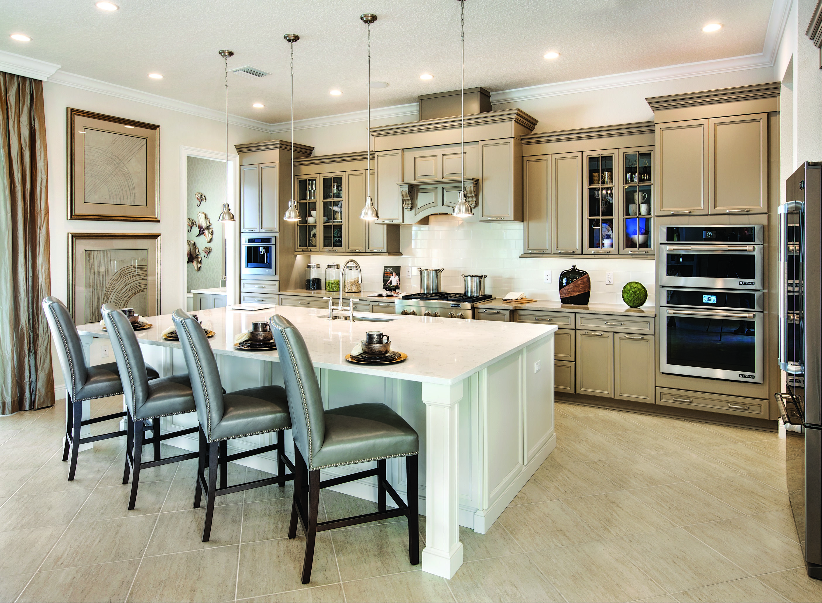 impress guests with this fantastically crafted two toned kitchen