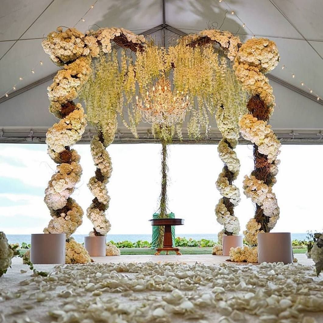 Chuppah game go strong! Adorn with various bloom in soft shade that transcends a shabby chic feel this flower chuppah by @xquisiteeventsfl will be such an ultimate pick for your beach side wedding! Together with grand chandelier and hanging wisteria that decorate the top part this setup is so mesmerizing captivating and enthralling at the same time! Show some love if you are a fan!  Photography @dominoarts via @thewedlist by weddingdream on Instagram